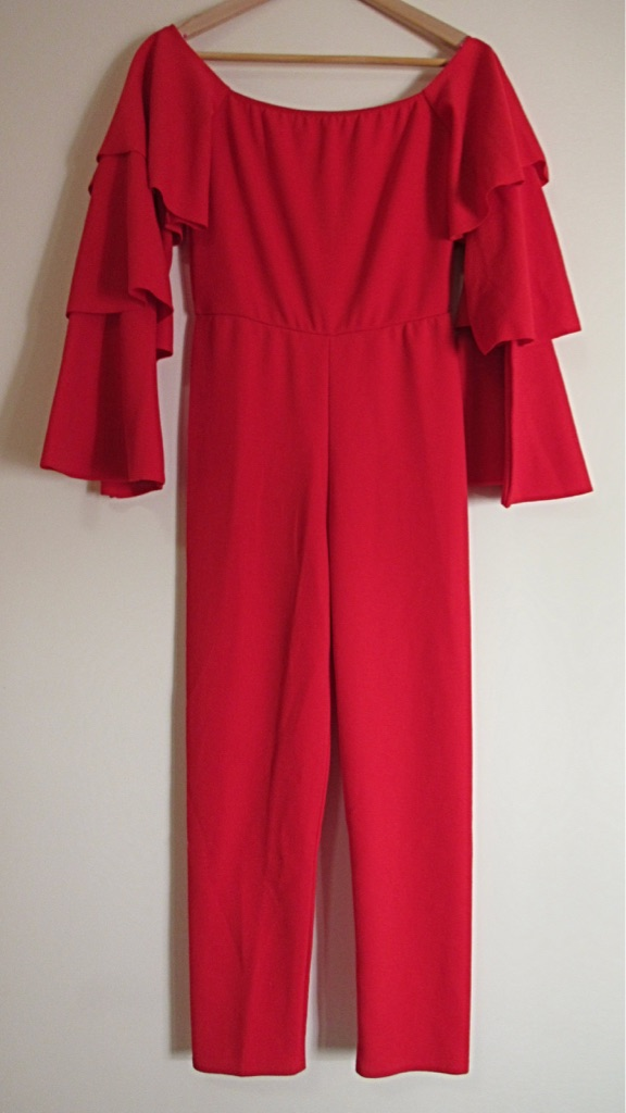 Red Ruffle PrettyLittleThing Jumpsuit Size 10