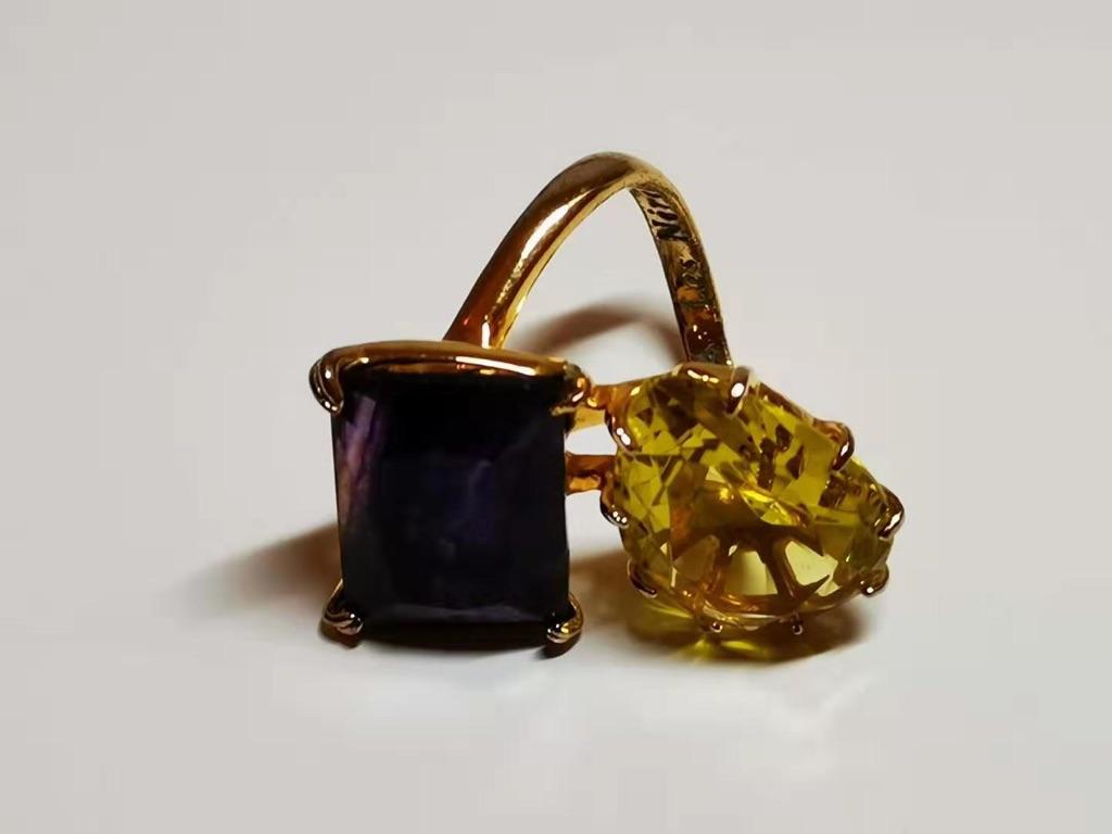 Citrite + Amethyst + Gold Ring