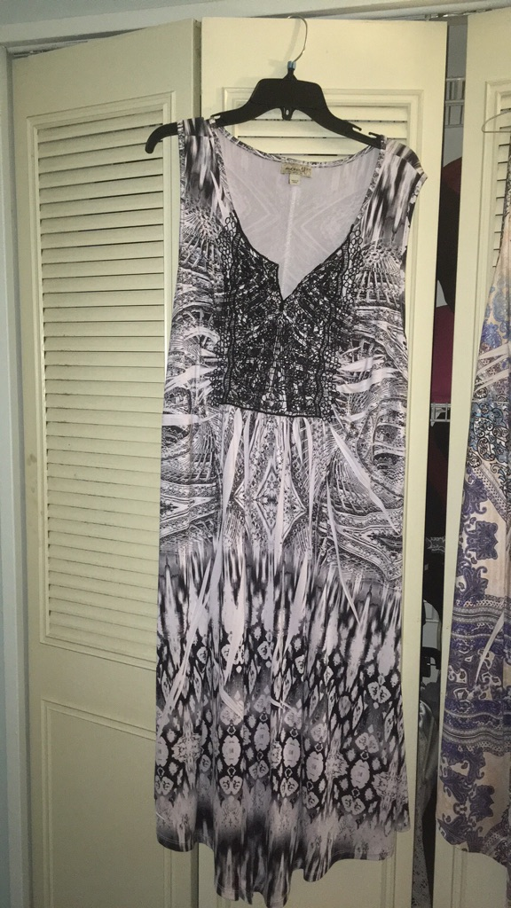 Oneworld maxi black and white dress size 2x