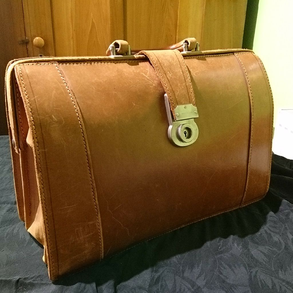 Hand stitched calf briefcase bought early 70s v.g.c