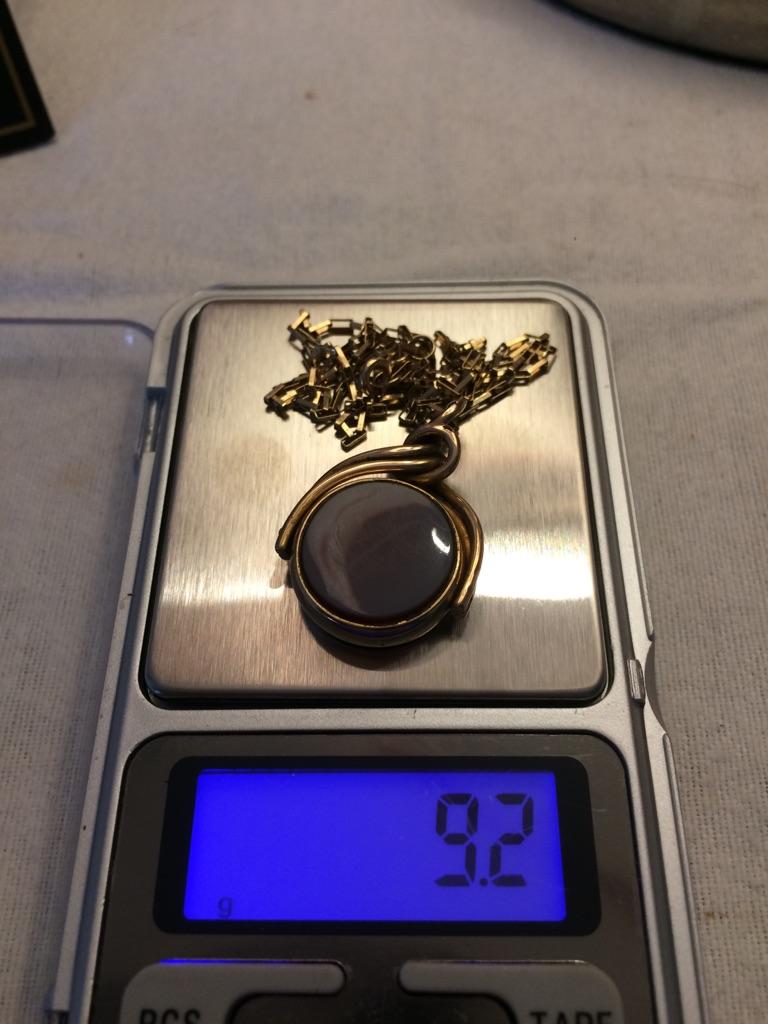 9ct gold Blecher chain an fob