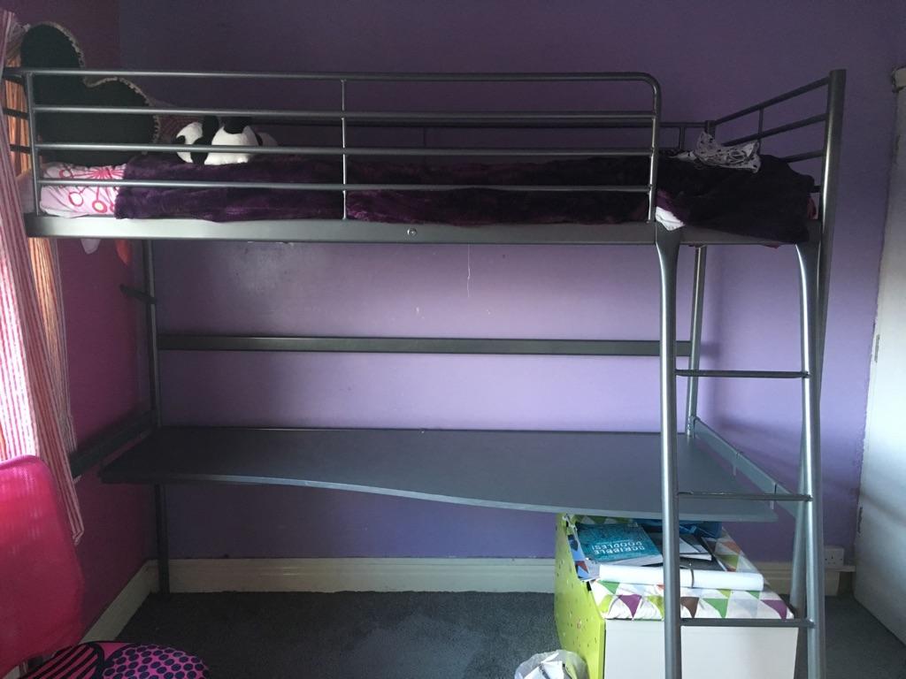 Ikea Svarta single loft bed with desk