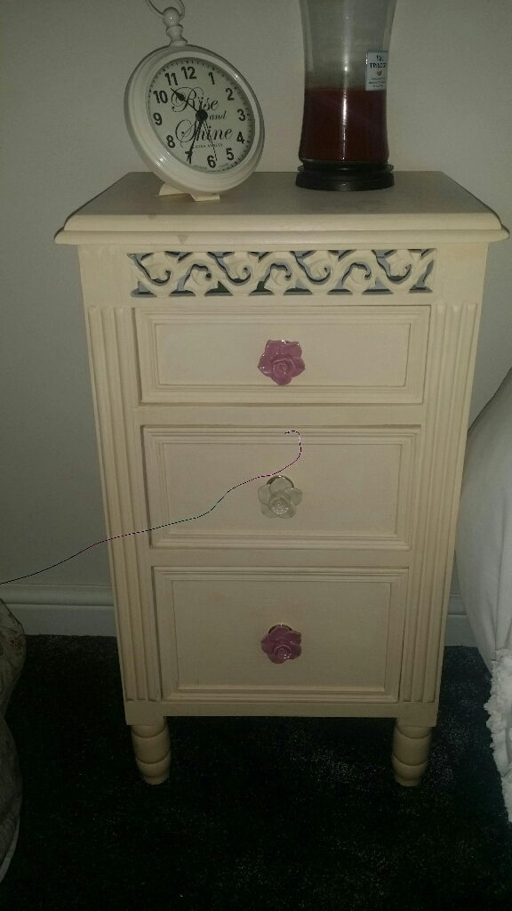Set of 2 Shabby chic carved wood bedside tables