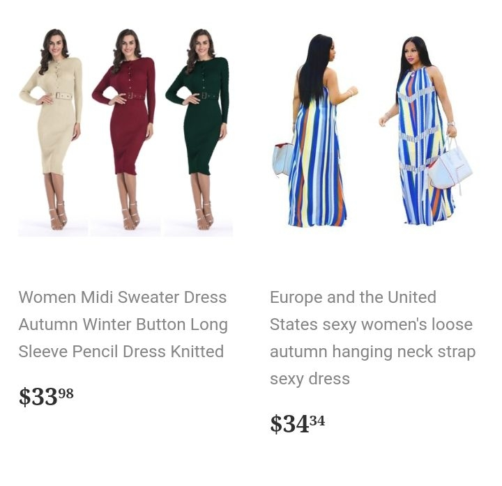 Beautiful dresses, all sizes.