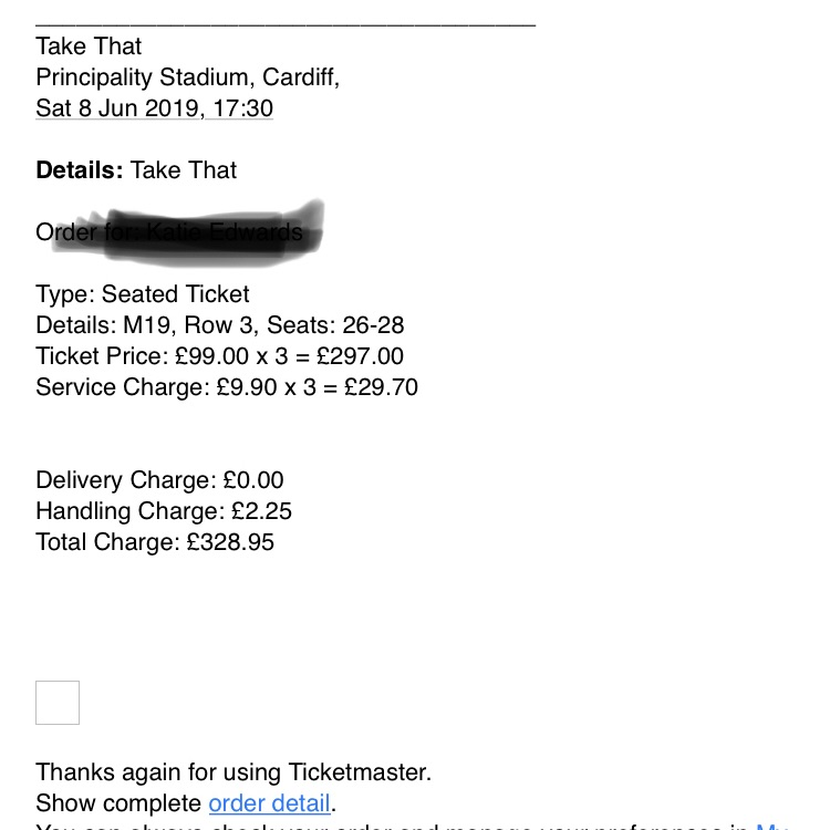 Take That tickets Cardiff 8th June