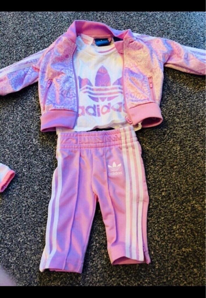 0-3 girls pink Adidas tracksuit