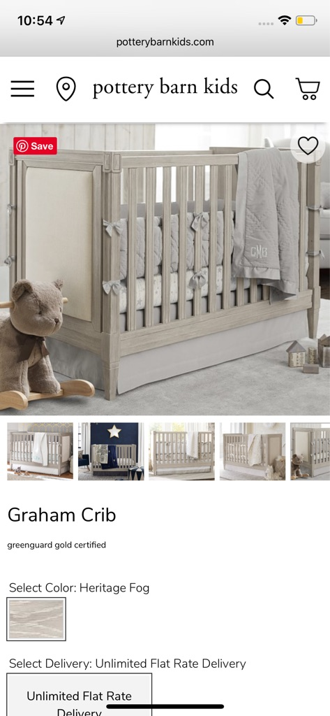 Pottery Barn Kids Graham Crib & Dresser w/ topper