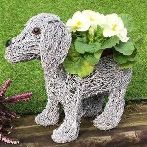 Standing Grey Dog Planter 26cm