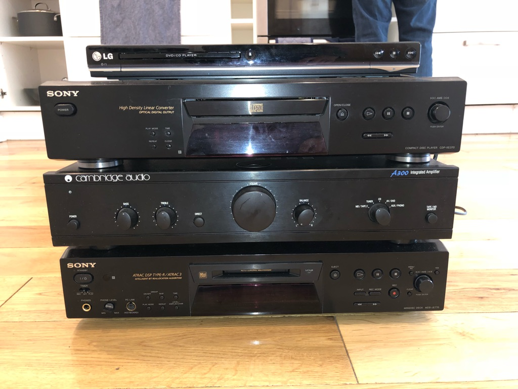 Amplifier, CD, Mini disc and DVD player for sale