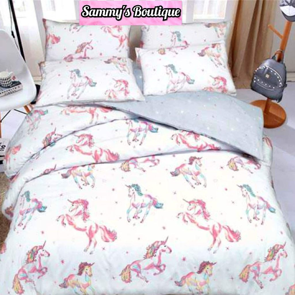 Paintly Unicorn Duckegg Reversible Duvet Set