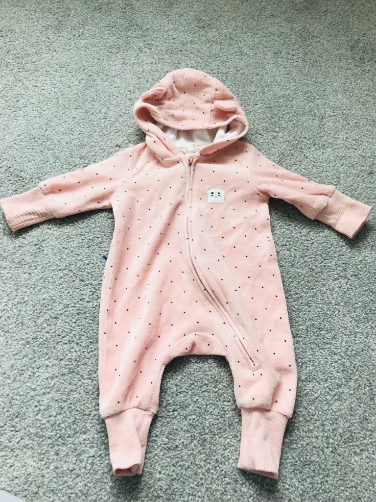 H&M baby girl velour hooded all-in-one suit 1-2 months