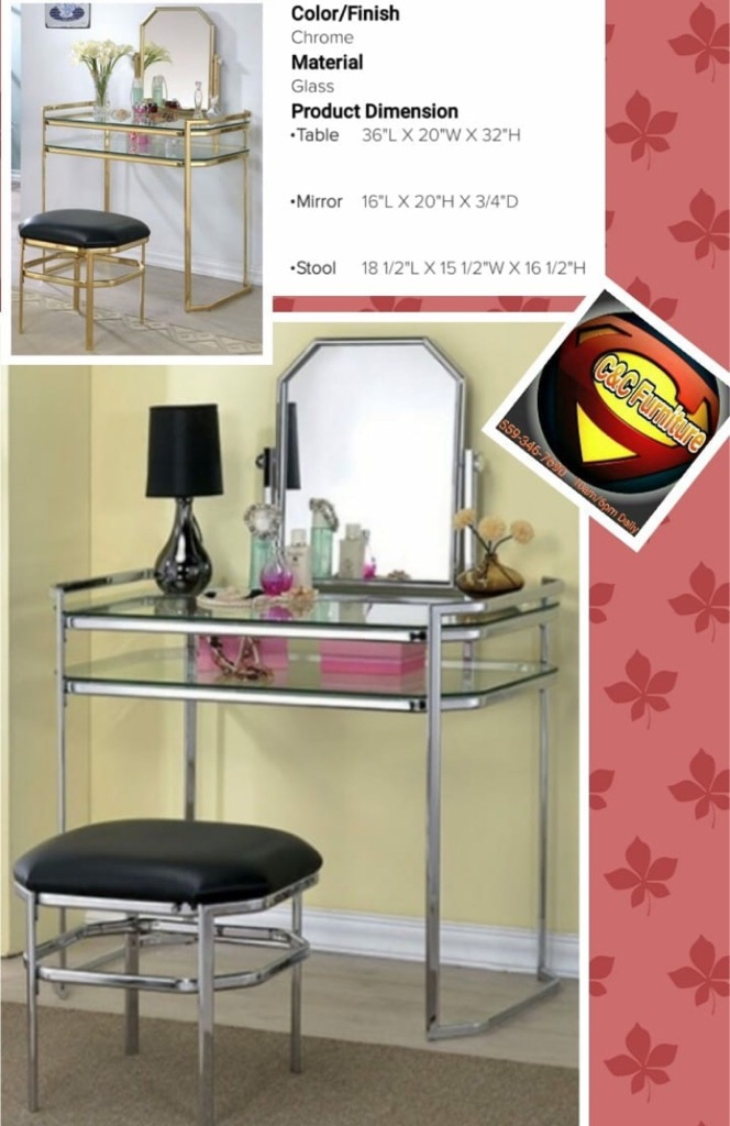 Glamorous Glass Vanity with stool