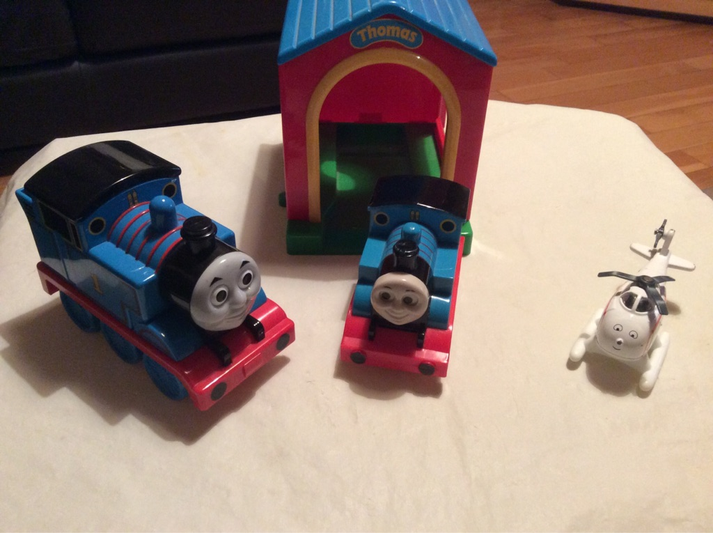 Talking Thomas, smaller Thomas, Harold and shed