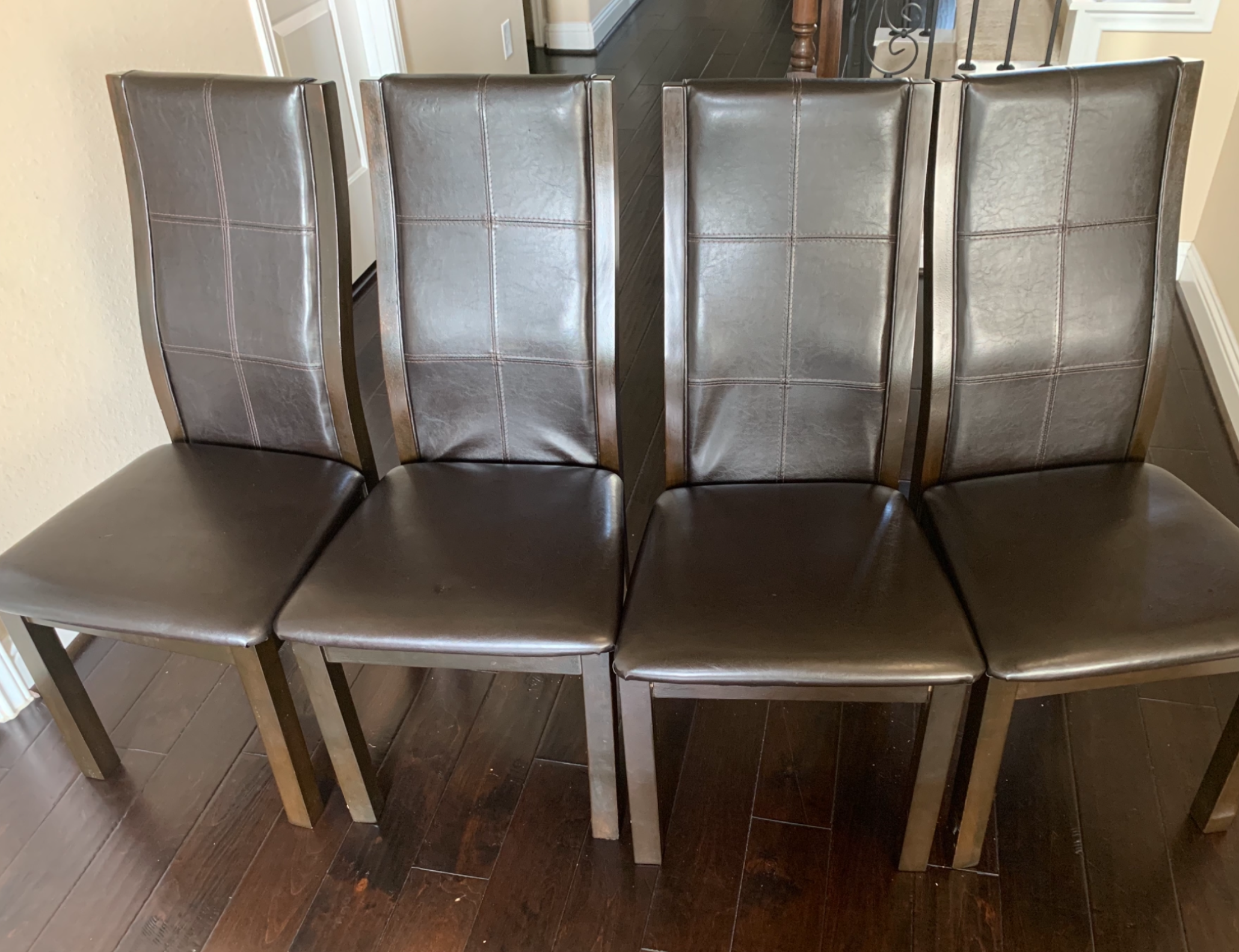 Brown Leather Cherry Dining Chairs(Set of 4)