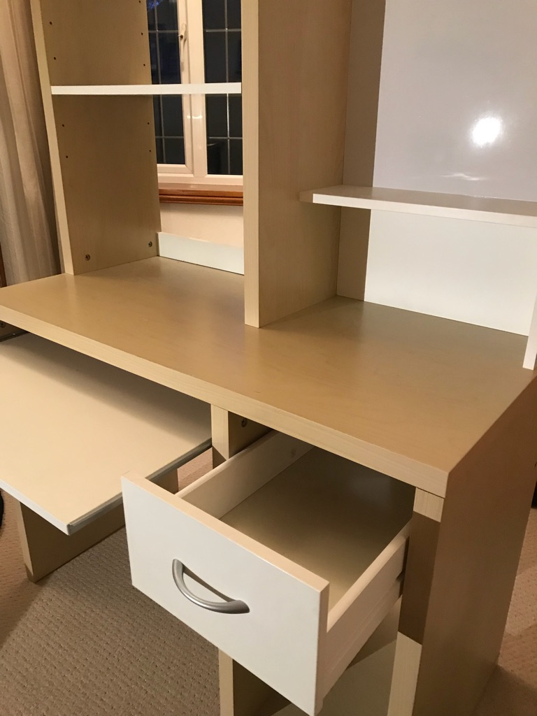 Modern Desk In Light Wood And White With Storage Drawer Pull Out Keyboard Shelf