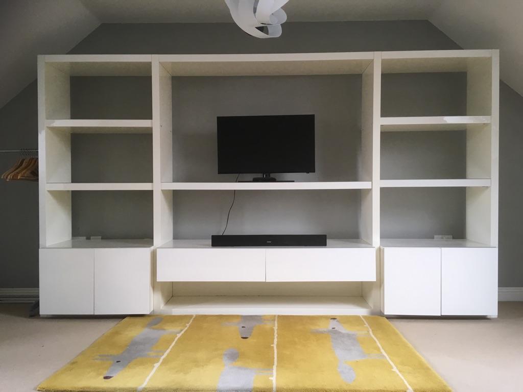 Habitat Aspen White Gloss Wall Unit with Two Shelf Extensions ( W320 x H185 x D41cm)
