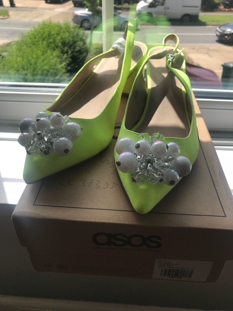 ASOS size 9 low/ mid heel lime green/ pearl shoes