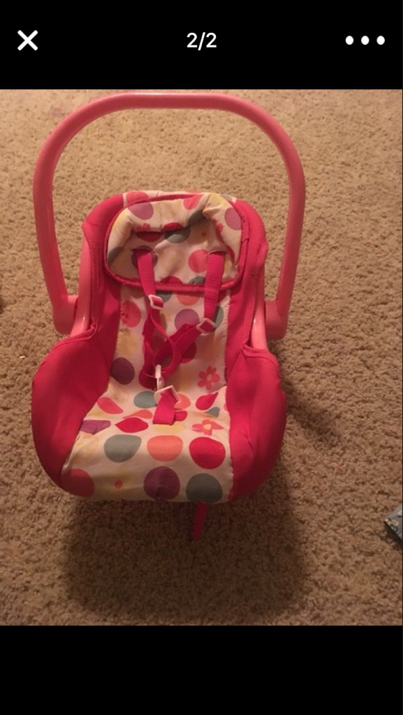 Baby doll dress and car seat