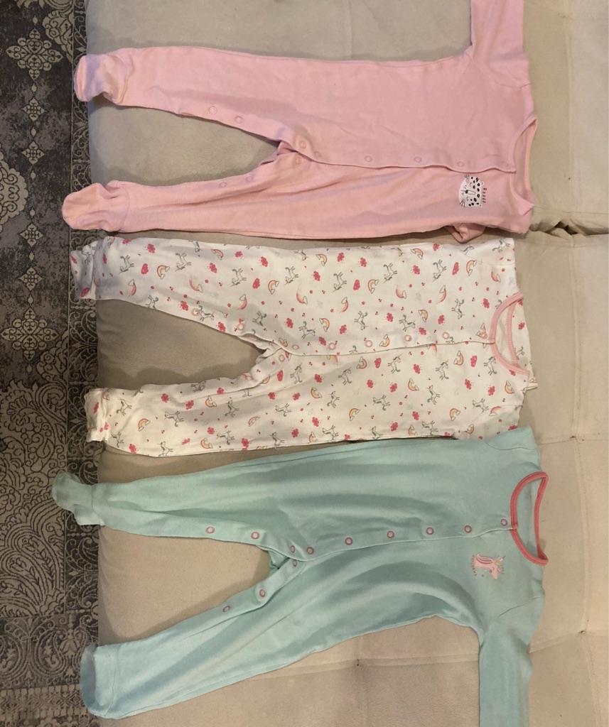 Baby girl sleepsuits 12-18