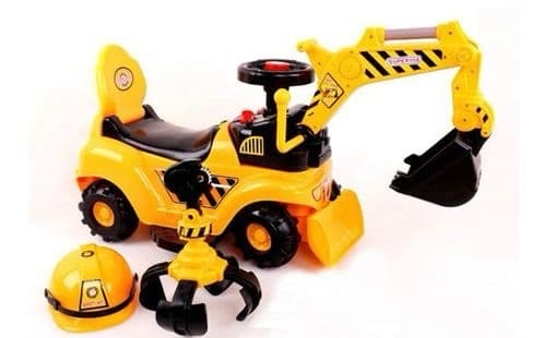 2 in 1 Ride On Toy Digger Excavator Grabber Bulldozer with Helmet