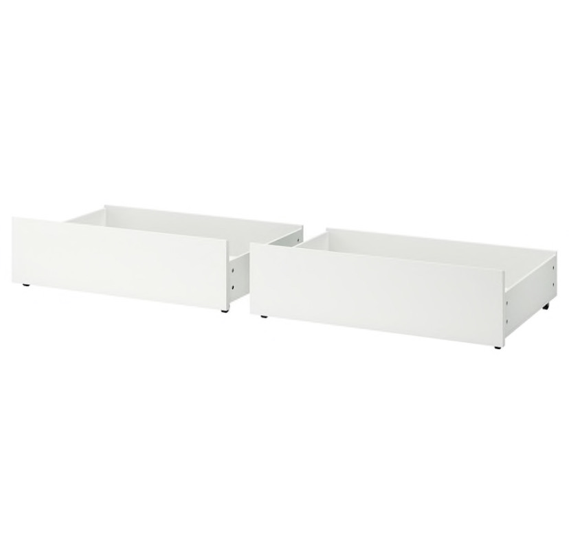 Bed storage box for high bed frame, white, 200 cm
