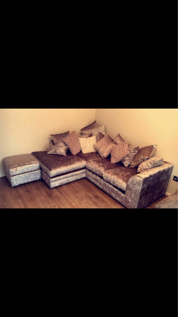 Mink crushed velvet sofas and footstool