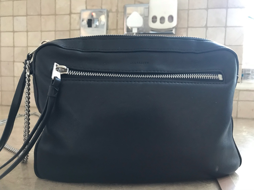 All saints black leather bag