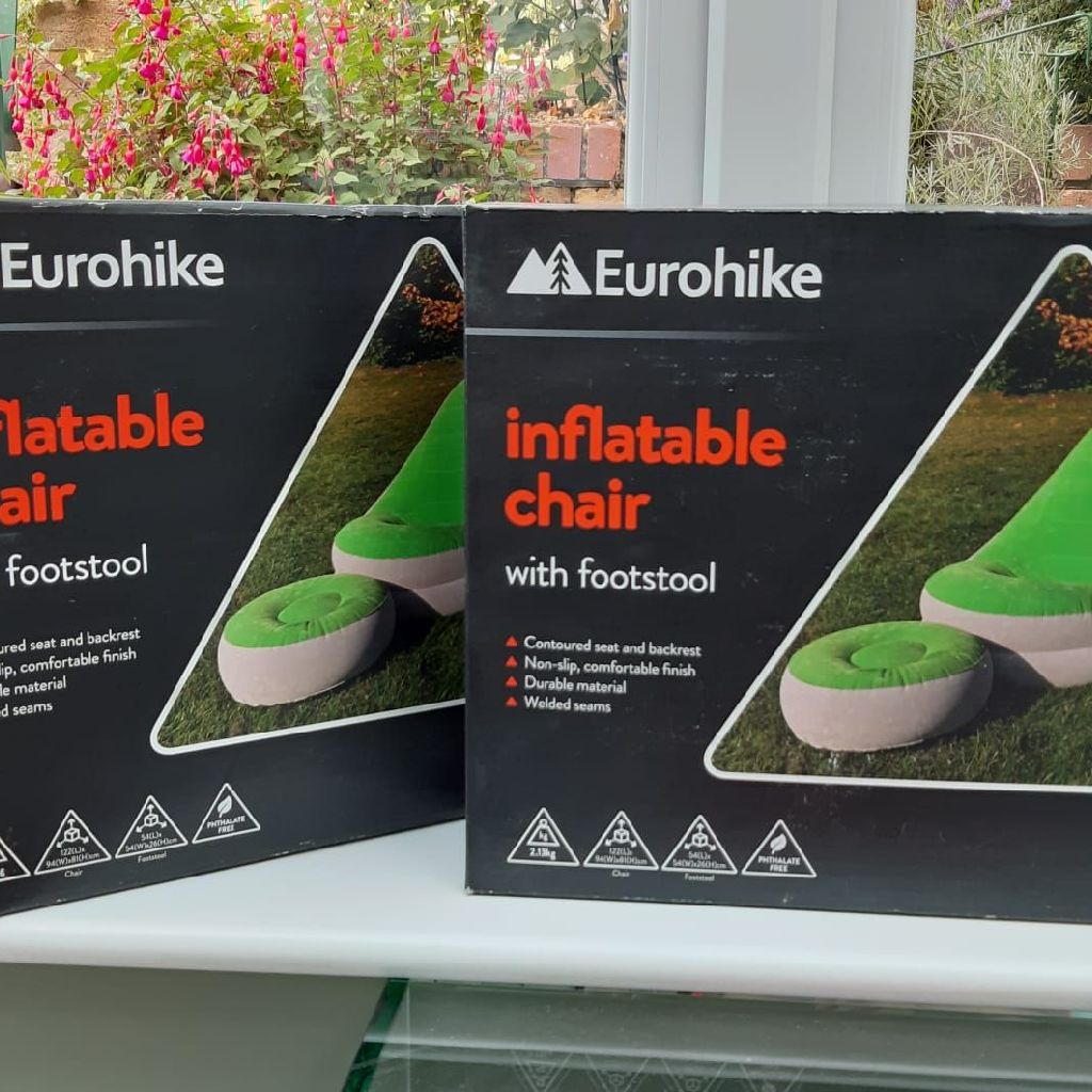2 x inflatable chairs with footstool.