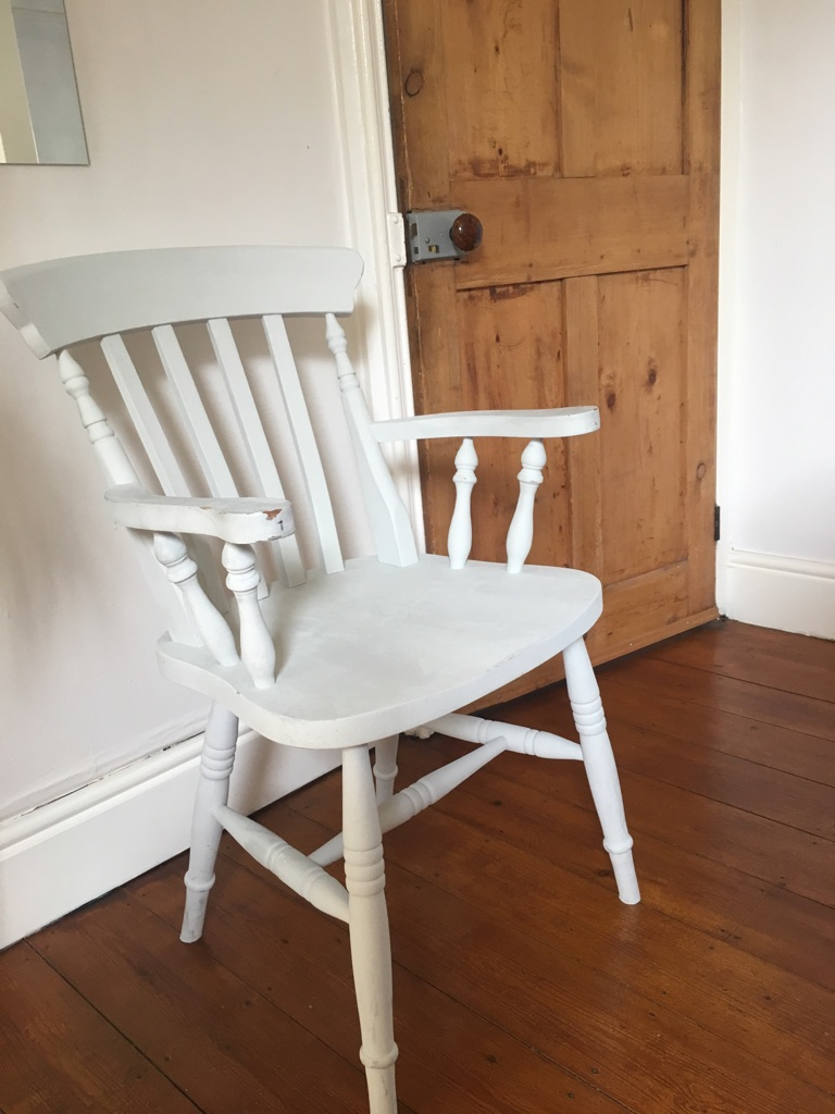 Wooden chair - painted light grey
