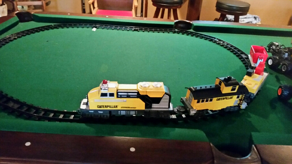 Very nice train and ten monster trucks