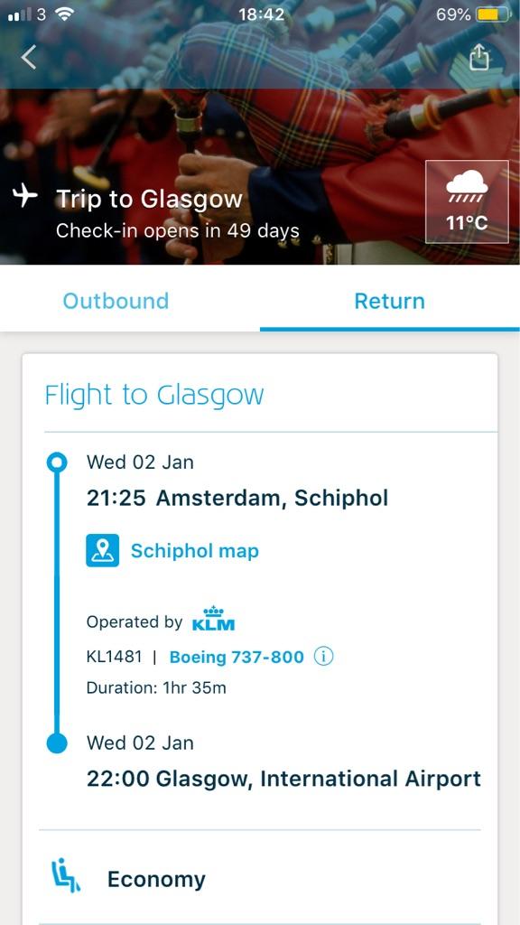 Two return flights Glasgow to Amsterdam