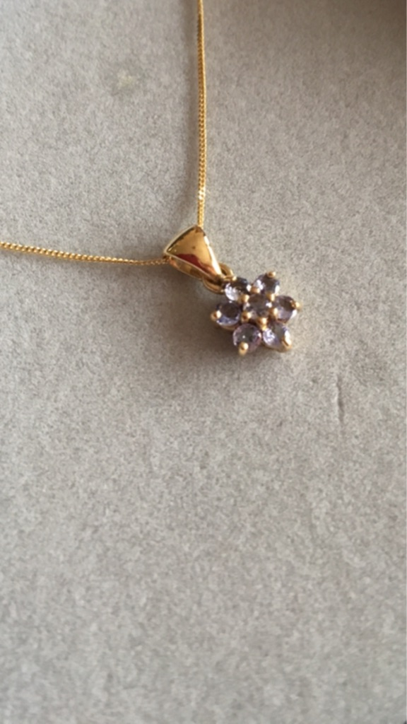 9K Tanzanite Yellow Gold Pendent with Gold Chain.