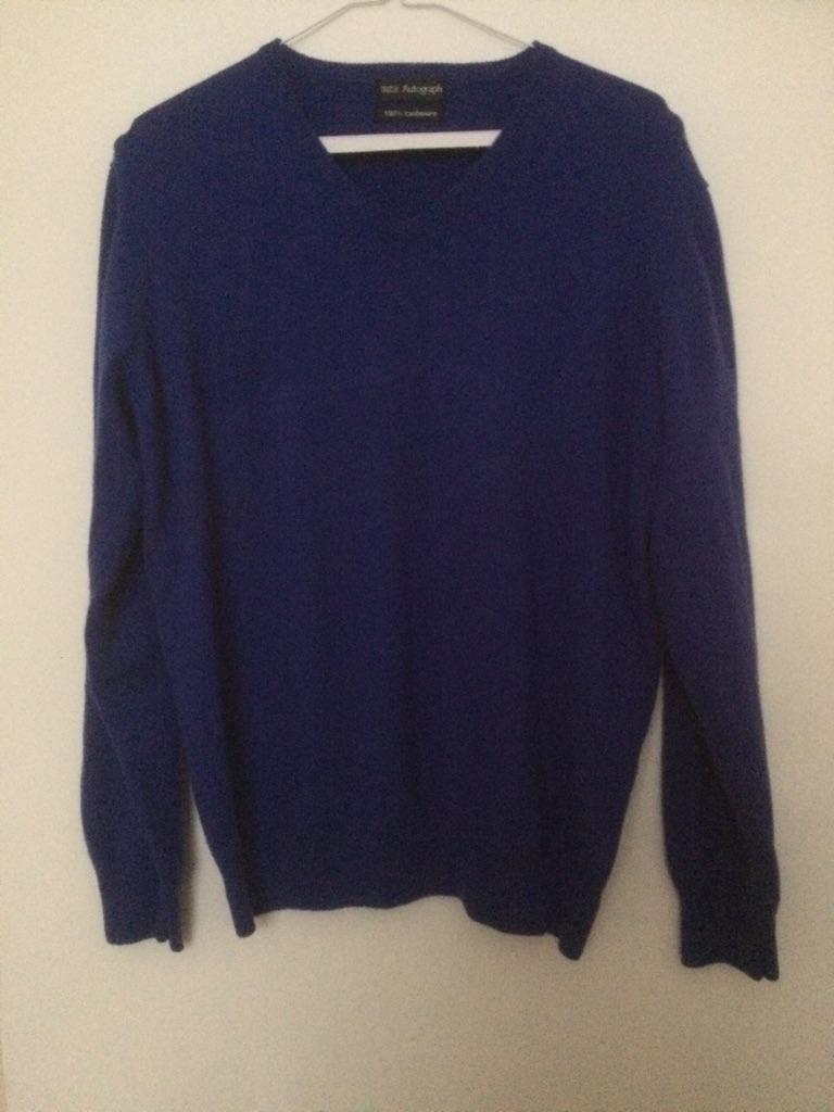"""Men's M&S Autograph 100% cashmere v neck jumper Large 41/3"""" chest"""