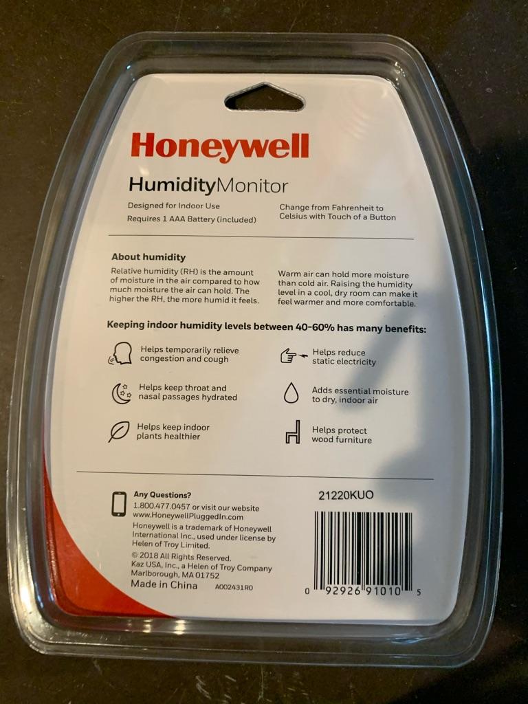 Honeywell Electronic Humidity Monitor