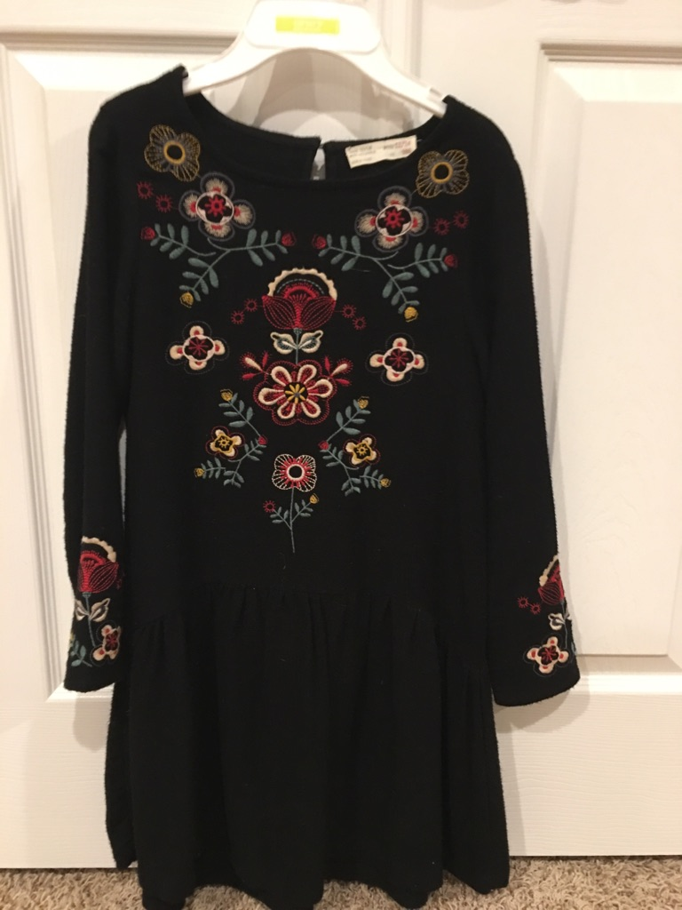Girl's black Dress with embroidery, Size 11-12
