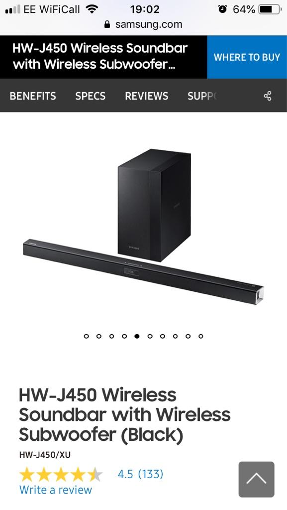 Samsung wireless soundbar and subwoofer