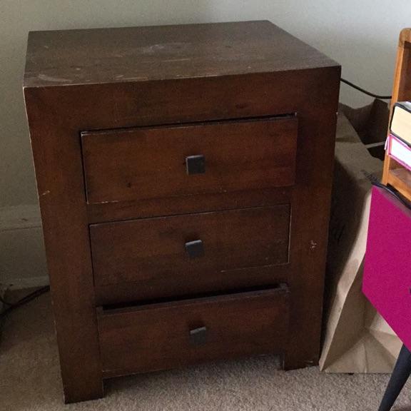 3 drawer, wooden drawers.