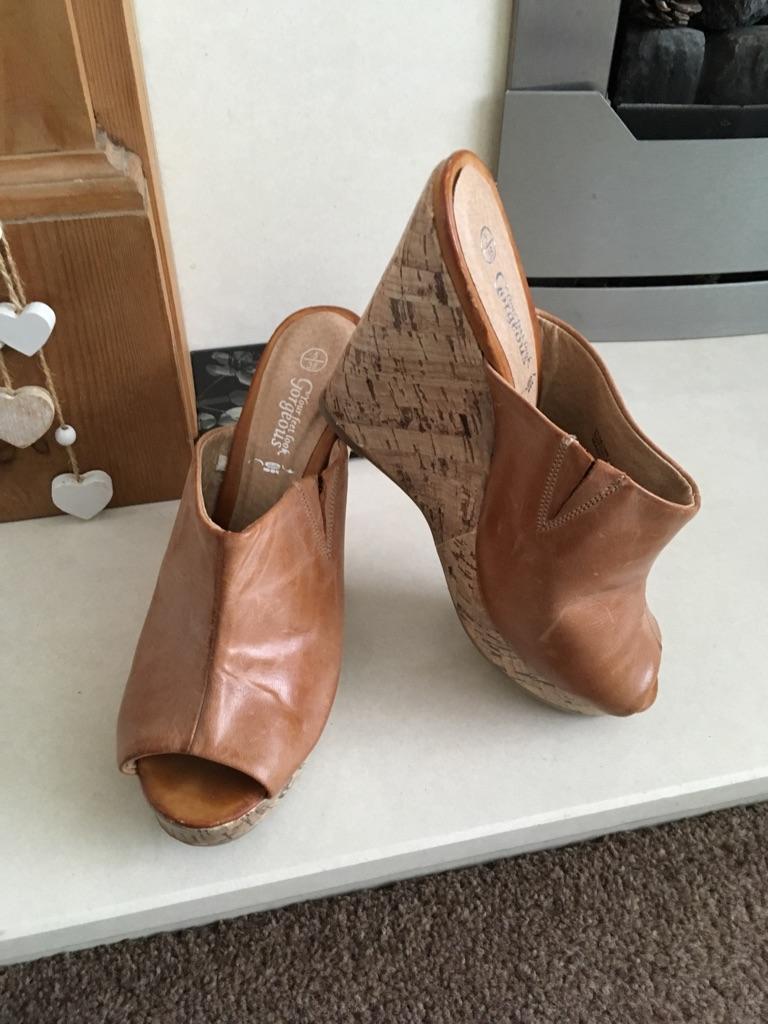 Wedge slip on sandals