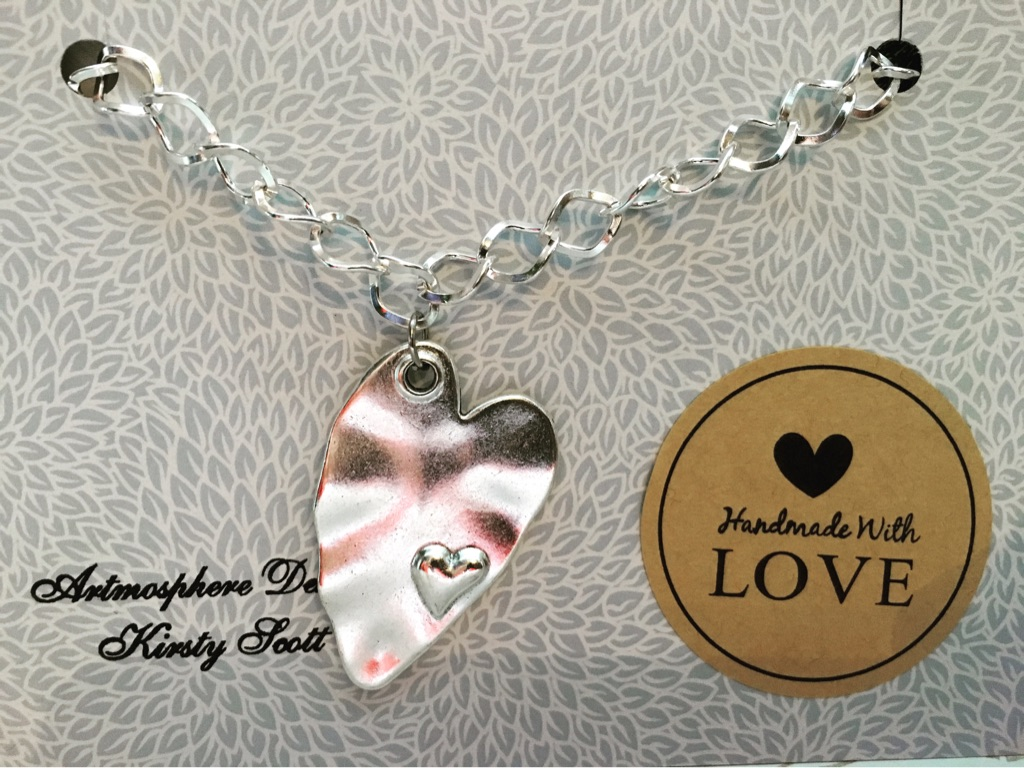 Handmade abstract heart bracelet.