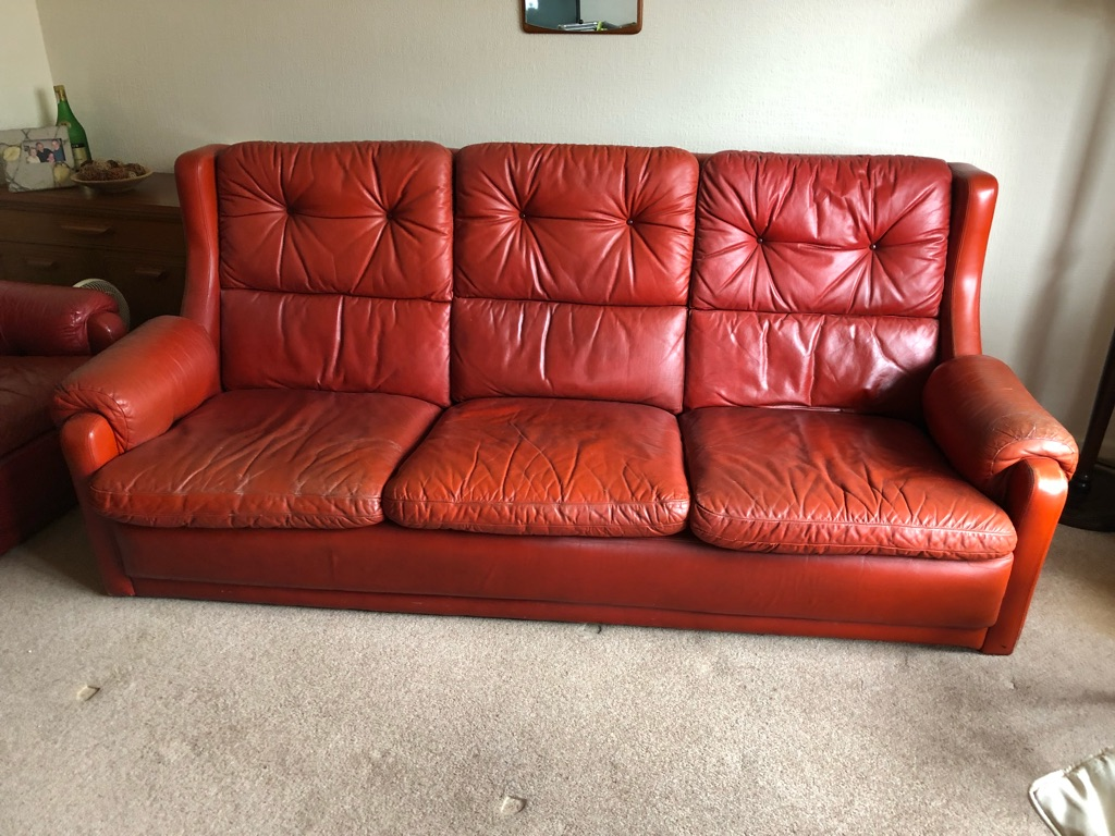 Retro, vintage, red leather 3 piece suite