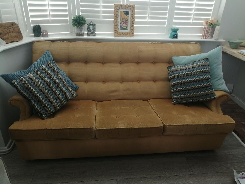 Parker Knoll vintage mustard sofa