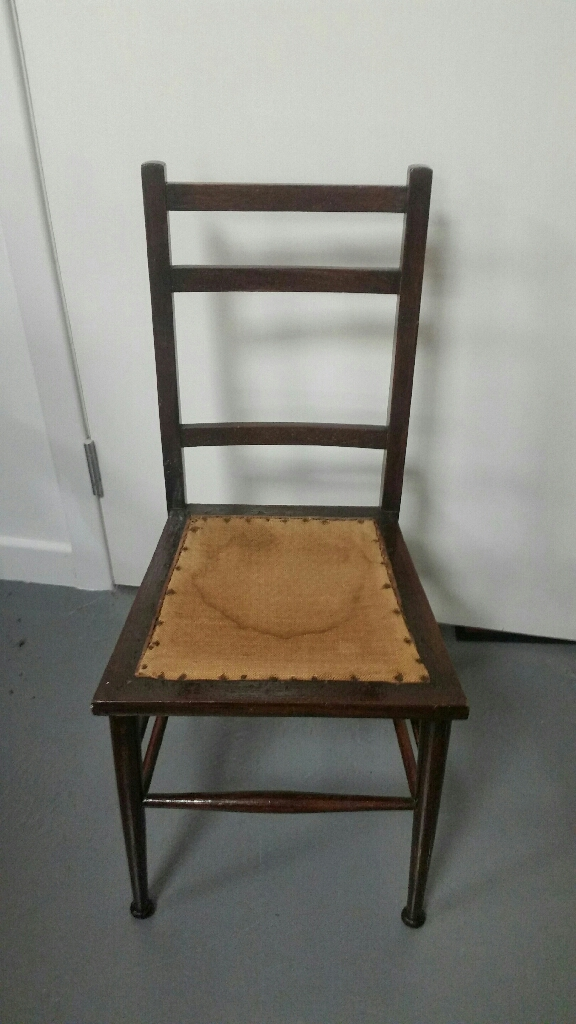 Kids wooden antique chair with original seat cover