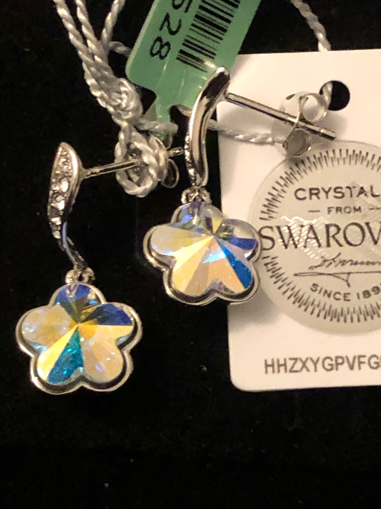 Set of 3 Swarovski earrings sterling silver 925 brand new