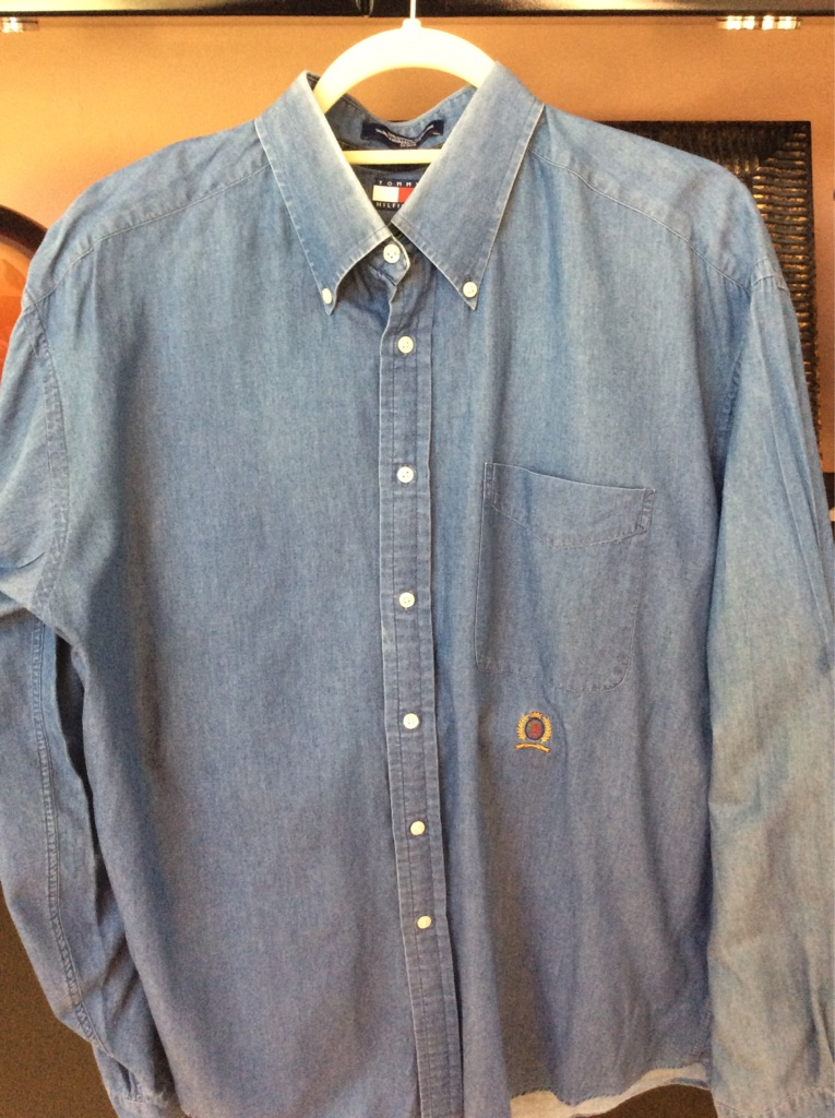 Lot of 2 men's Denim DESIGNER dress shirts XL