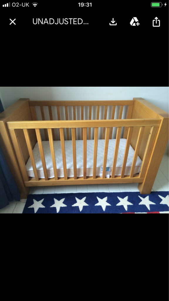 Kidsmill Solid Oak Cot Bed + mattress (height adjustable) and baby change/chest