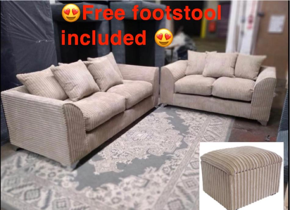 🚛FREE DELIVERY🚛 BRAND NEW JUMBO CORD 3+2 SET WITH FREE MATCHING FOOTSTOOL INCLUDED✅