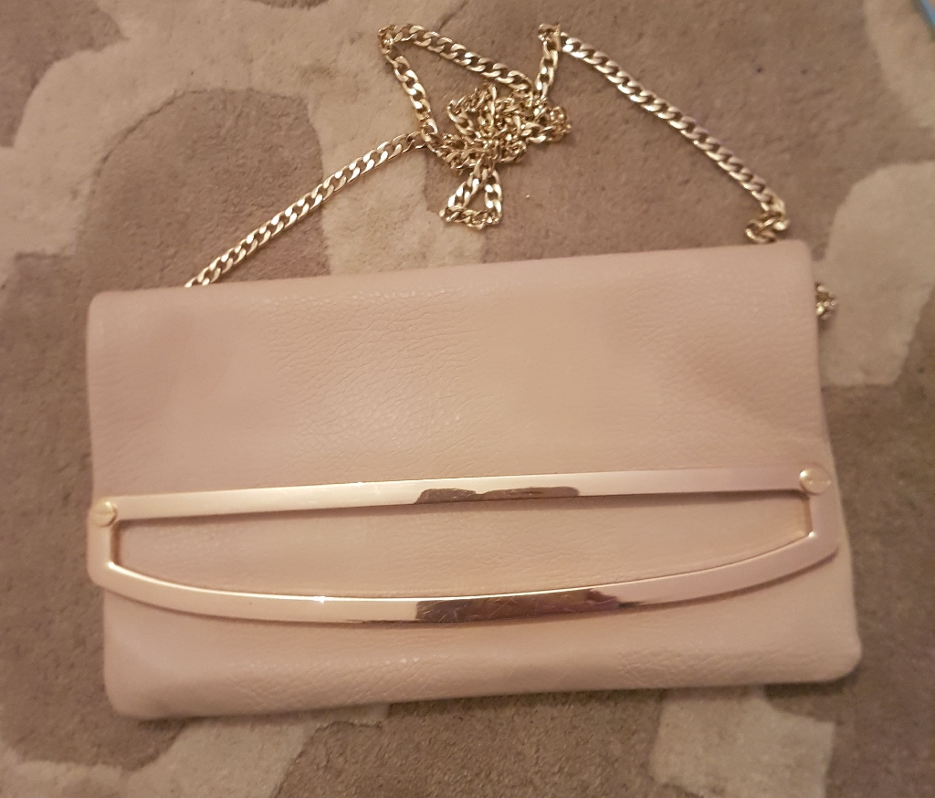 Dune nude faux leather clutch bag