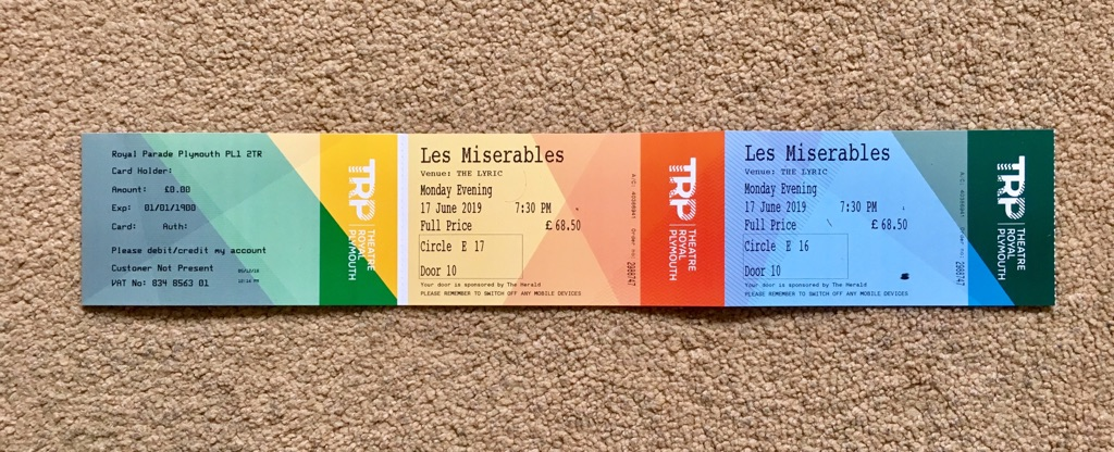 2 x Tickets to see Les Mis in Plymouth