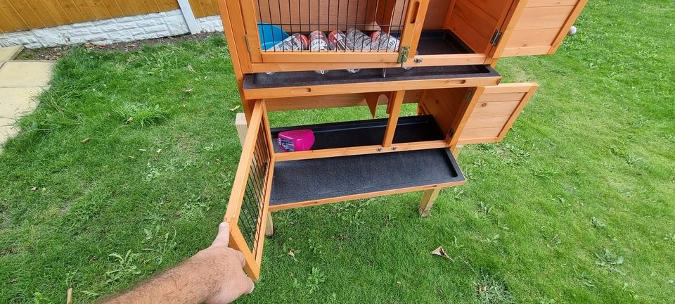 x2 Double Hutch Guinea Pig with Sliding Tray, 36-inch + Hutch Cover