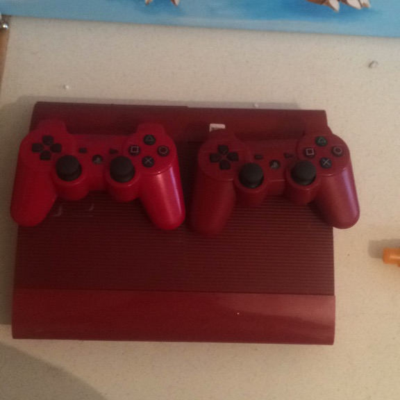 Red PS3 with 2 controllers
